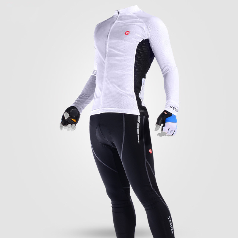 Men's Cycling Clothing Set Breathable Quick Dry Jersey Glitter White