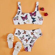 Girls Butterfly Print Bikini Swimsuit