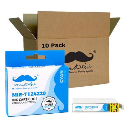 Compatible Epson T124220 Cyan Ink Cartridge - Moustache@ - 10/Pack