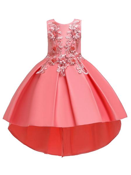 Milanoo Vestidos de niña de las flores Cuello joya Poliester Sin mangas con tren Princesa Silueta Arcos Vestidos formales para niños