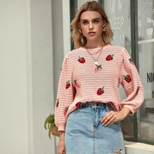 Strawberry Embroidery Puff Sleeve Sweater