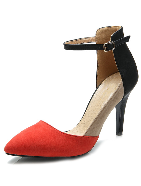 Milanoo Pretty Red Stiletto Heel Suede Leather Women's Pointy Toe Heels