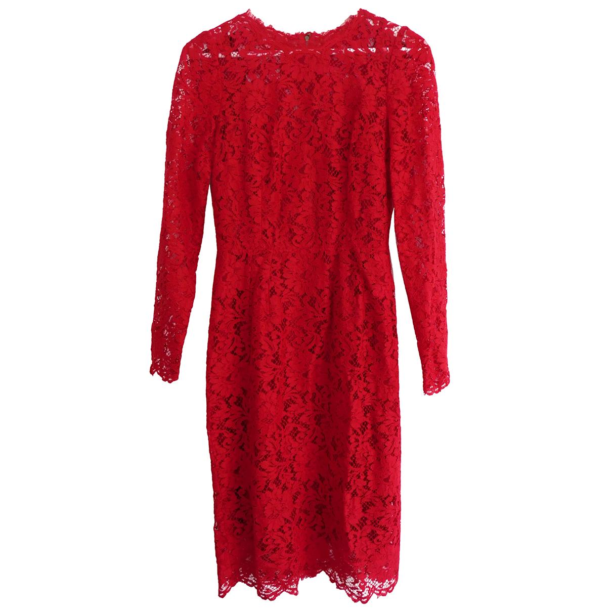 Dolce & Gabbana - Robe   pour femme en dentelle - rouge