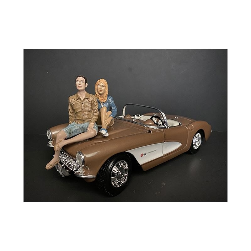 Seated Couple Release III, 2 piece Figurine Set for 1/18 Scale Models by American Diorama - Multi (Multi)