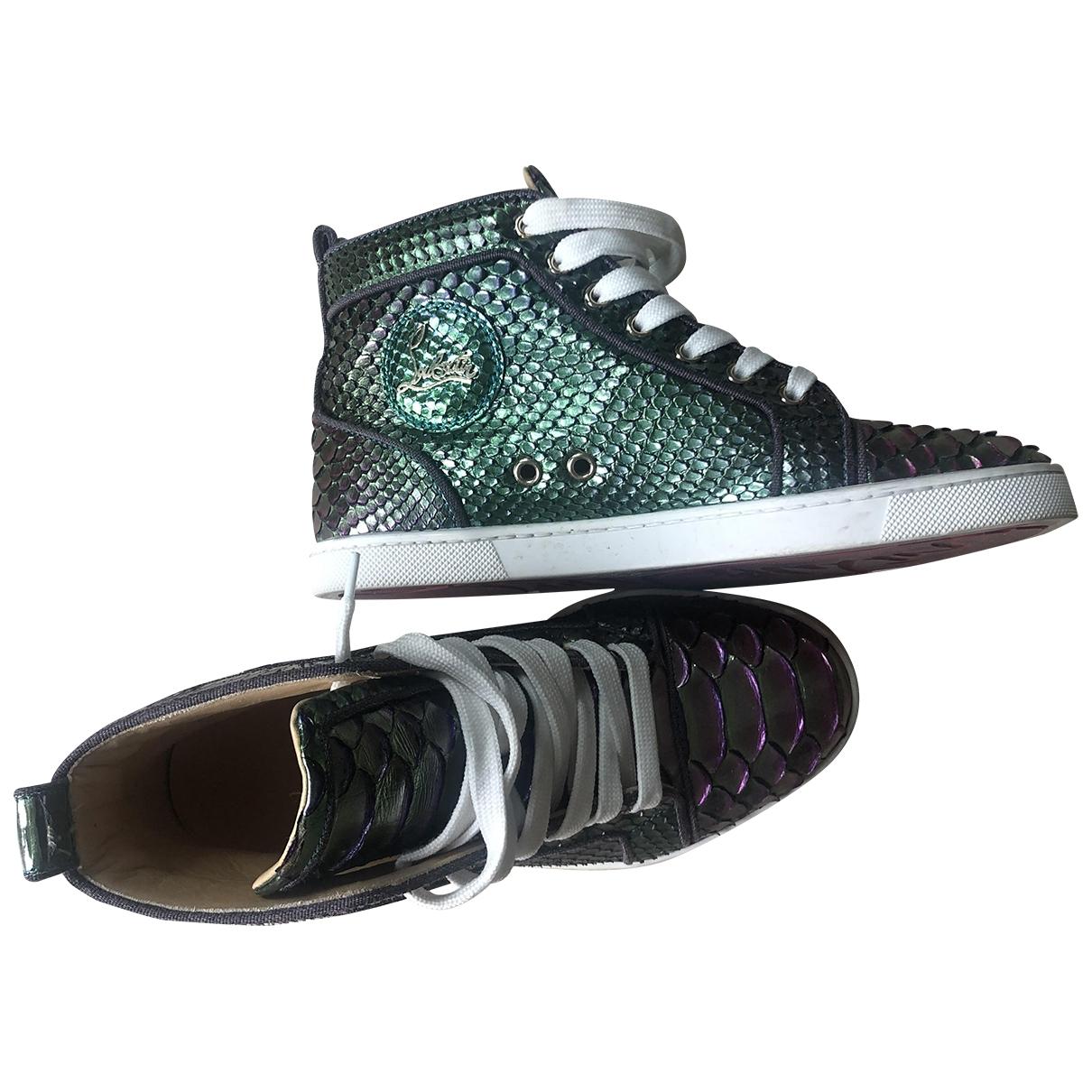 Christian Louboutin Louis Sneakers in  Lila Wasserschlangen