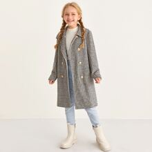 Girls Double Breasted Placket Plaid Coat