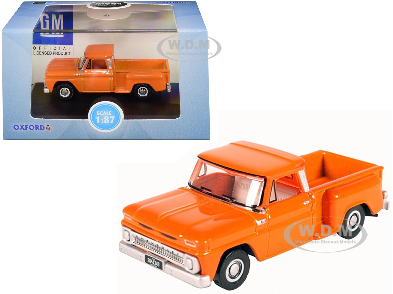 1965 Chevrolet C10 Stepside Pickup Truck Orange 1/87 (HO) Scale Diecast Model Car by Oxford Diecast