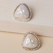 Rhinestone Decor Triangle Stud Earrings