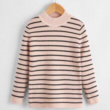 Toddler Girls Striped Pattern Rib-Knit Sweater