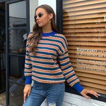 Pullover mit sehr tief angesetzter Schulterpartie und komplettem Muster