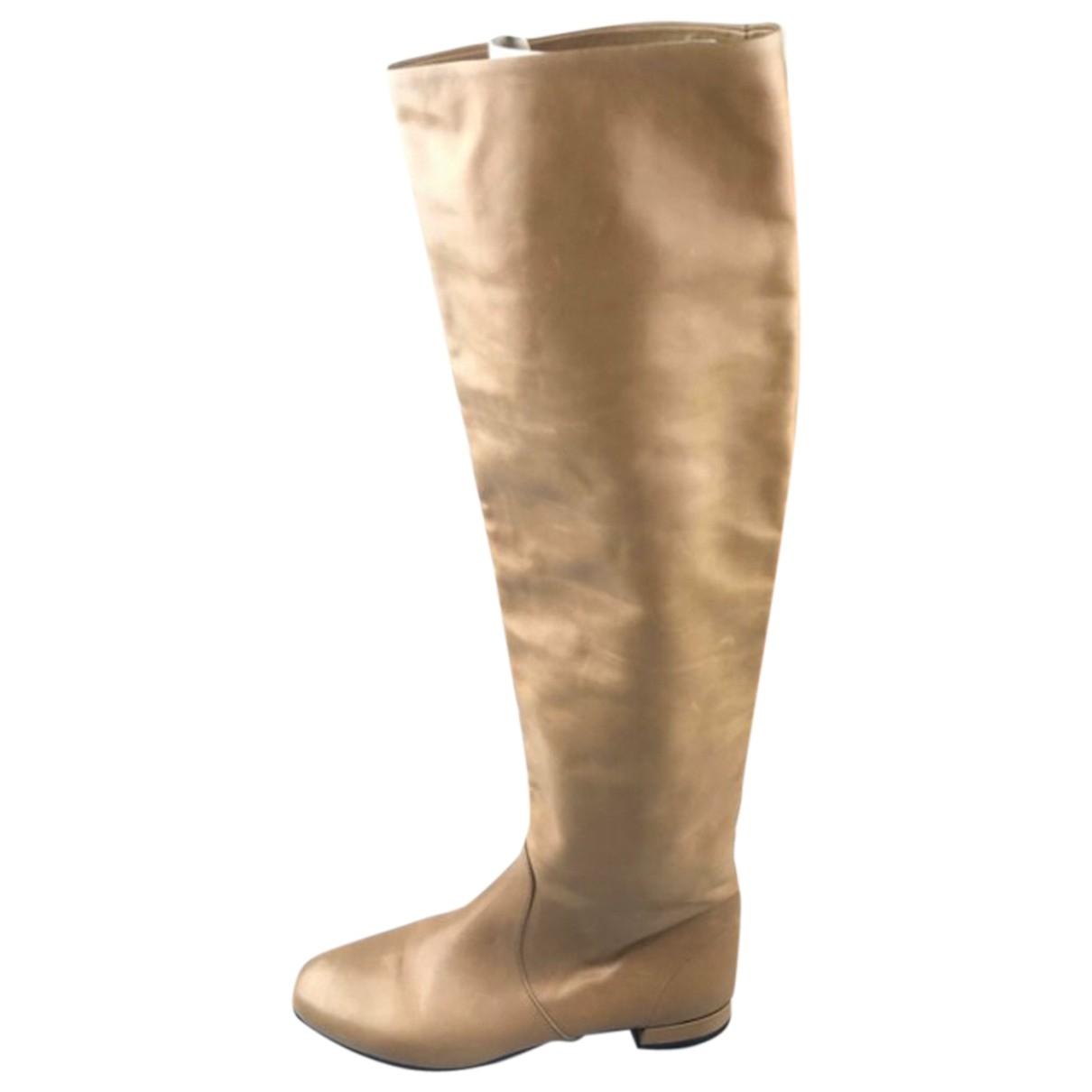 Prada - Bottes   pour femme en cuir - camel