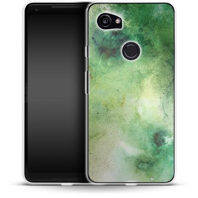 Google Pixel 2 XL Silikon Handyhuelle - Abstract Galaxy - Green von Barruf