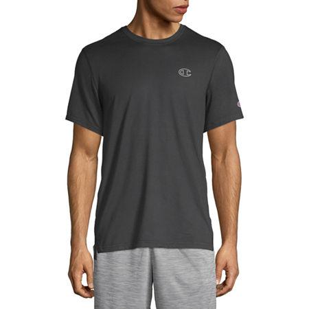 Champion Sport Mens Crew Neck Short Sleeve Moisture Wicking T-Shirt, Small , Black