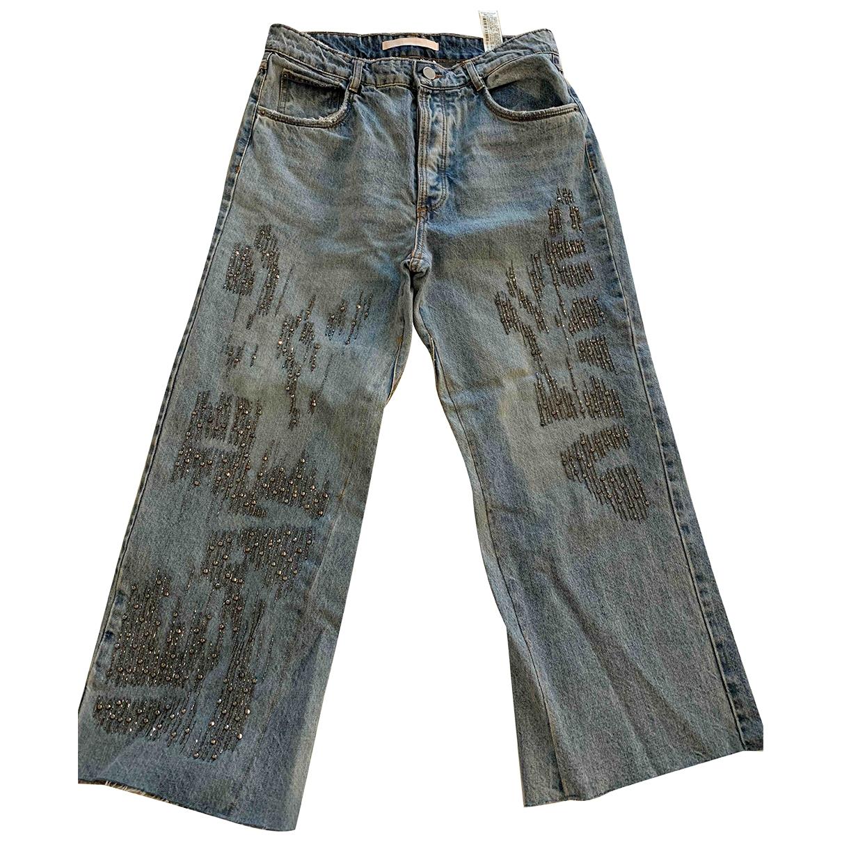 Zara \N Turquoise Denim - Jeans Trousers for Women 36 FR