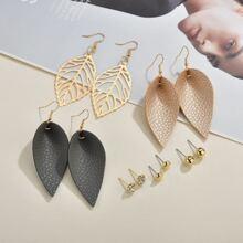 6pairs Water Drop PU Leather Earrings