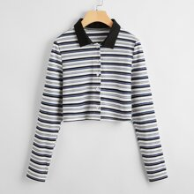 Striped Button Front Ribbed Crop Tee