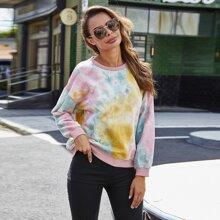 Sweatshirt mit Batik Muster und sehr tief angesetzter Schulterpartie