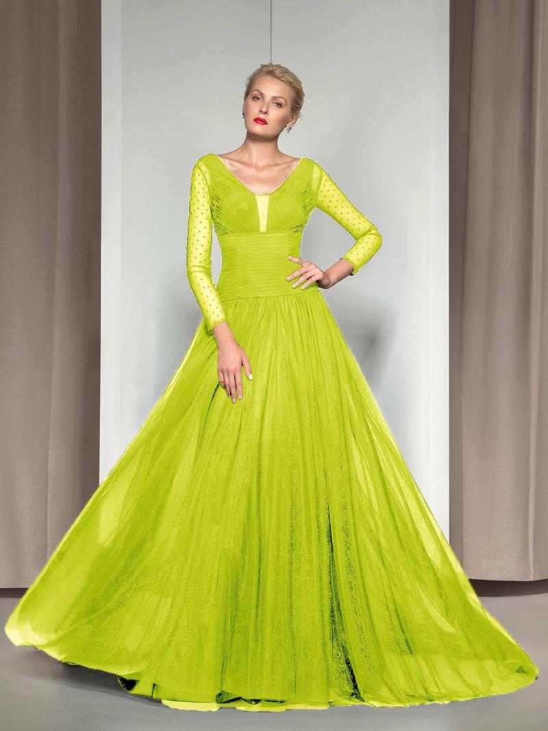 Ericdress V-Neck Long Sleeve Sequins Evening Dress