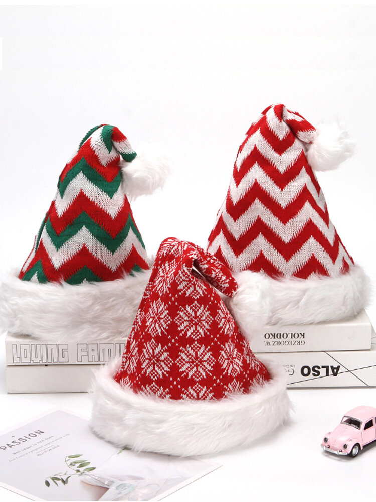 Christmas Outdoor Dance Party Knitted Plush Christmas Hat Snowflake Adult Brimless Hat