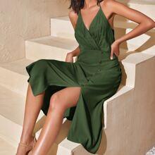 Solid Split Hem Triangle Cami Dress