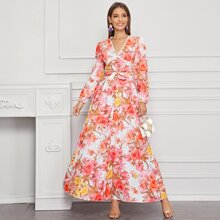 Allover Floral Print Belted Maxi Dress