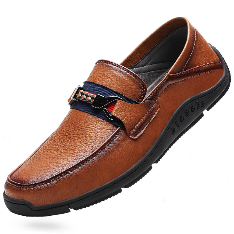 Men Genuine Cow Leather Loafers Soft Slip On Casual Driving Shoes