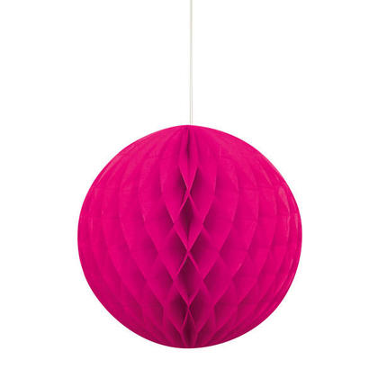 Honeycomb Paper Ball for Party Decoration 8'' - Neon Pink