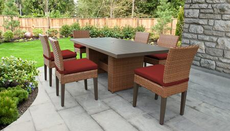 Laguna Collection LAGUNA-DTREC-KIT-6C-TERRACOTTA Patio Dining Set With 1 Table  6 Side Chairs - Wheat and Terracotta