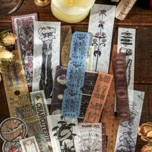 40 Stuecke Zufaelliger Aufkleber mit Vintage Muster