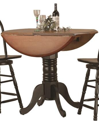 DLU-TPD4242CB-BCH Round Drop Leaf Pub Table in Antique Black with Cherry Finish