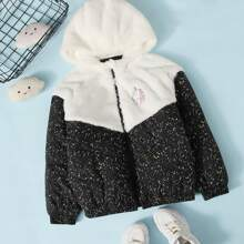 Girls Unicorn Patched Contrast Faux Fur Panel Colorblock Padded Jacket