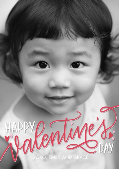 Valentines Cards Flat Glossy Photo Paper Cards with Envelopes, 5x7, Card & Stationery -Valentine Happy Script by Tumbalina