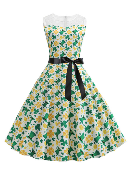 Milanoo Vintage Summer Dress 1950s Clover Print Sleeveless Swing Dress