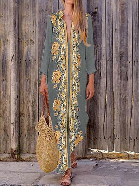 Milanoo Vestido sin mangas de los vestidos maxi Negro Impreso con cuello en V vestido de poliester de longitud de playa