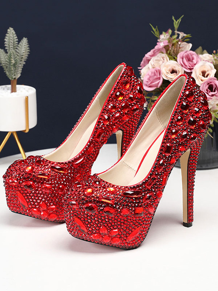 Milanoo Luxury Prom Heels Crystal Embellished High Heel Party Bridal Shoes