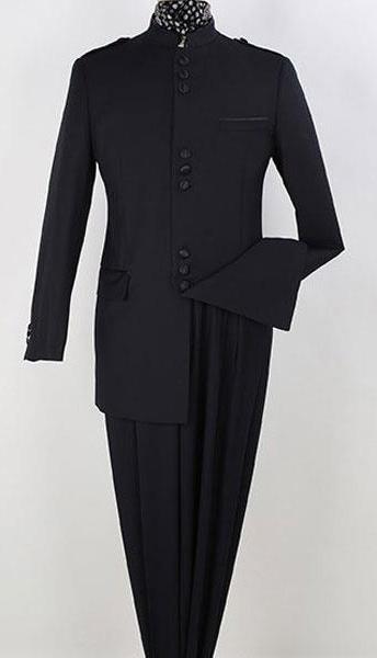 Mens Navy 2 Piece Single Breasted Nehru Style Mandarin Collar Suit