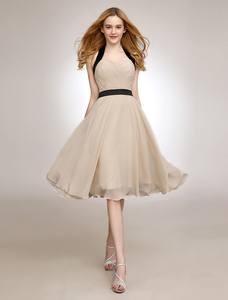 Milanoo Gold Champagne A-Line Sash Backless Chiffon Bridesmaid Dress