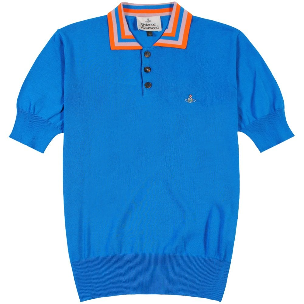 Vivienne Westwood Stripe Collar Knitted Polo Colour: BLUE, Size: SMALL