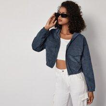 Flap Pocket Zip Up Corduroy Crop Jacket