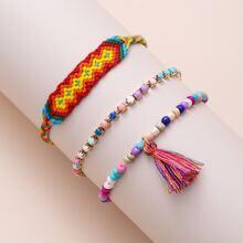 3 Stuecke Armband mit Quasten Dekor und Perlen