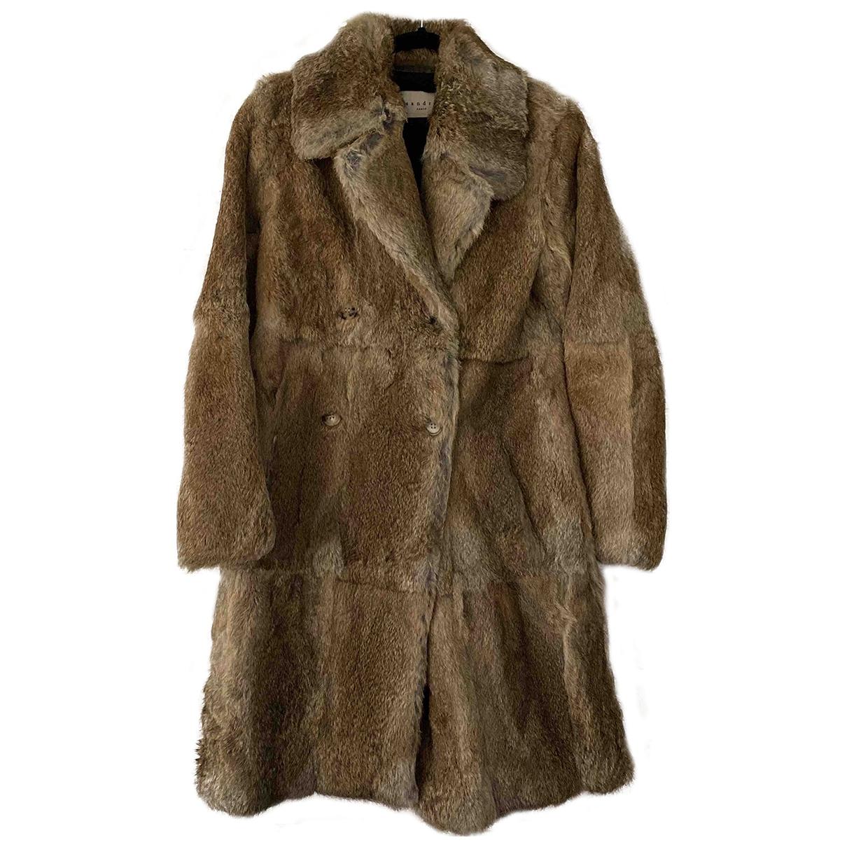 Sandro \N Brown Rabbit coat for Women 1 0-5