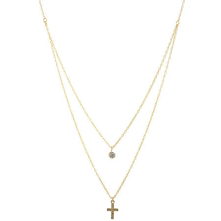 Silver Treasures Cubic Zirconia 14K Gold Over Silver 16 Inch Cable Cross Pendant Necklace, One Size , No Color Family