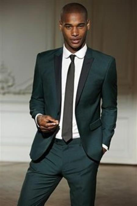 Mens Olive Green Tuxedo with black lapel Custom Made Suit