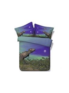 Prehistoric Dinosaur under the Moonlight Printed Cotton 4-Piece 3D Bedding Sets/Duvet Covers
