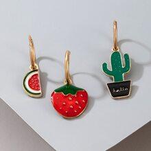 3pcs Fruit Charm Drop Earring