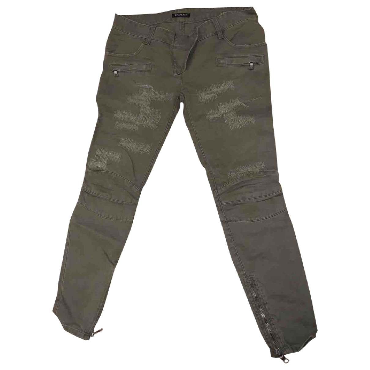 Balmain \N Khaki Cotton Trousers for Women 38 IT