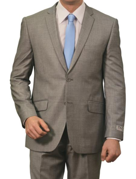 2 Button Light Grey Front Closure Slim Fit Suit Mens Cheap
