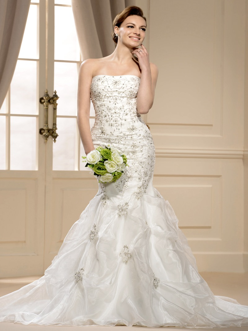 Ericdress Mermaid Strapless Beading Embroidery Wedding Dress