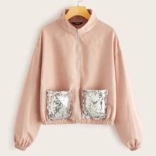 Zip Up Sequin Pocket Patched Jacket