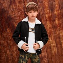 Boys Contrast Teddy Lining Patch Pocket Zipper Placket Jacket